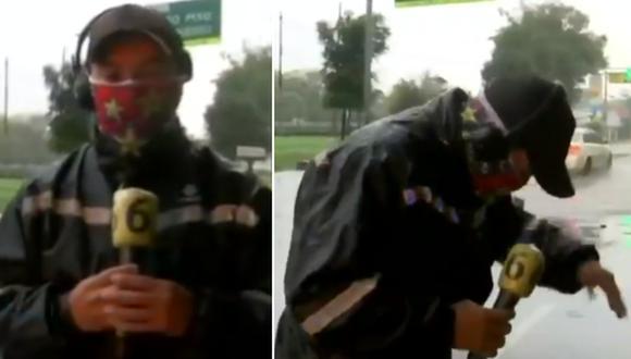 Reportero acaba empapado por culpa de un autobús en plena transmisión en vivo. (Foto: @telediario / Twitter)