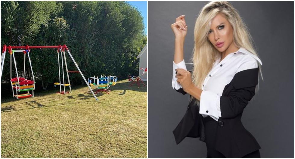 Luciana Salazar junto a su hija Matilda en un parque de juegos privado construido en plena cuarentena.  (Fotos: Instagram)
