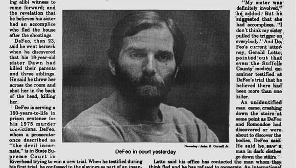 Ronald DeFeo Jr. mató a sus padres y cuatro hermanos a sangre fría en la noche del 13 de noviembre de 1974. Fuente: Prensa.