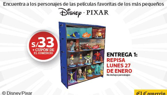 Una colección exclusiva de El Comercio con 15 entregas de tus personajes favoritos de Disney y Pixar, contiene Repisa Coleccionadora con temática de cada película, 14 libros en tapa dura y 14 miniaturas de los personas de Disney y Pixar.