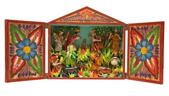Retablo que representa un nacimiento, obra del artista ayacuchano Jesús Urbano. Este y otros artículos para regalo pueden adquirirse en las ferias de Navidad que incluimos en este artículo. (Foto: Jesús Urbano)