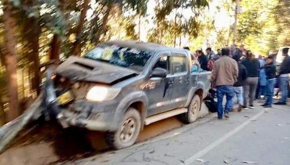 Así quedó el auto que generó el accidente. (Foto: Antena Norte Huamachuco)
