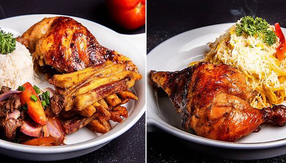 La carta tiene combinaciones preestablecidas de pollo a la brasa con guisos: desde tallarines a la huancaína hasta chaufa o lomo saltado. El cliente puede elegir la presa con la que se acompañan.
