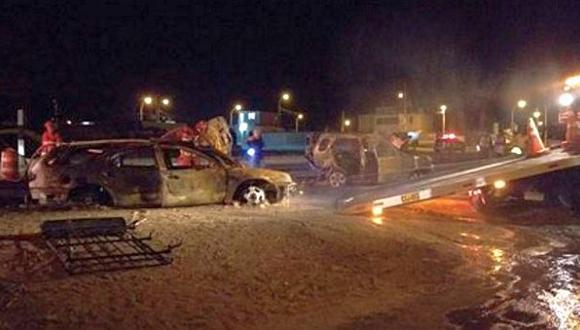 Huaura: cuatro heridos deja choque e incendio de dos autos