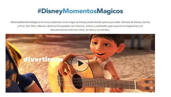 Encuentra recorridos virtuales por los parques temáticos, tutoriales para preparar platos inspirados en Disney y fondos para videollamadas en Momentos Mágicos. (Foto: Disney Latino)