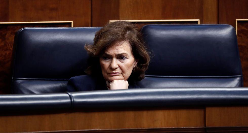 La vicepresidenta de España, Carmen Calvo, dio positivo a coronavirus. (Photo by Mariscal / POOL / AFP).