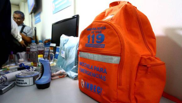 El peso máximo de la mochila para emergencias debe ser de 8 kilos para que no sea difícil de cargar.  (Foto: Archivo El Comercio)