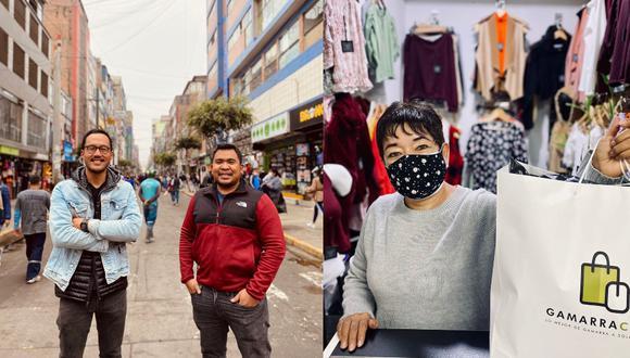 Oswaldo Nomura y Alexander Chang, amigos desde la universidad y ahora socios, son fundadores de Gamarra Click, una plataforma que reúne a los comerciantes del emporio de La Victoria. (Foto: equipo Gamarra Click)