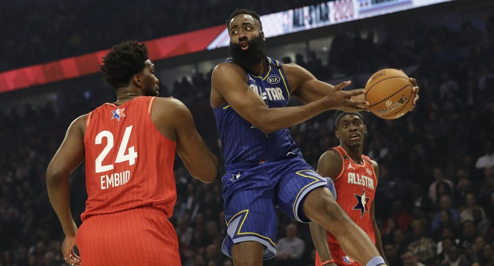 James Harden of the Houston Rockets looks to pass during the first half of the NBA All-Star basketball game Sunday, Feb. 16, 2020, in Chicago. (AP Photo/Nam Huh)