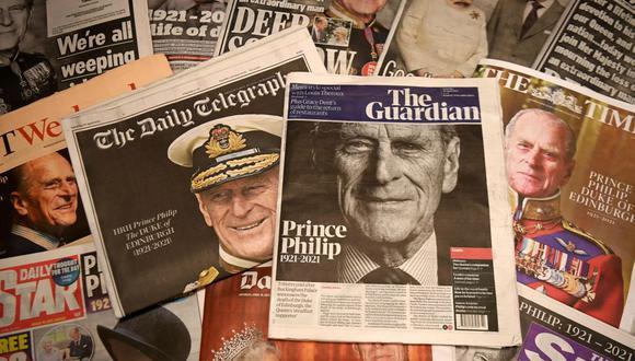 La cobertura mediática del Reino Unido de la muerte del príncipe Felipe en Londres, Reino Unido, el 10 de abril de 2021. (EFE/EPA/ANDY RAIN).