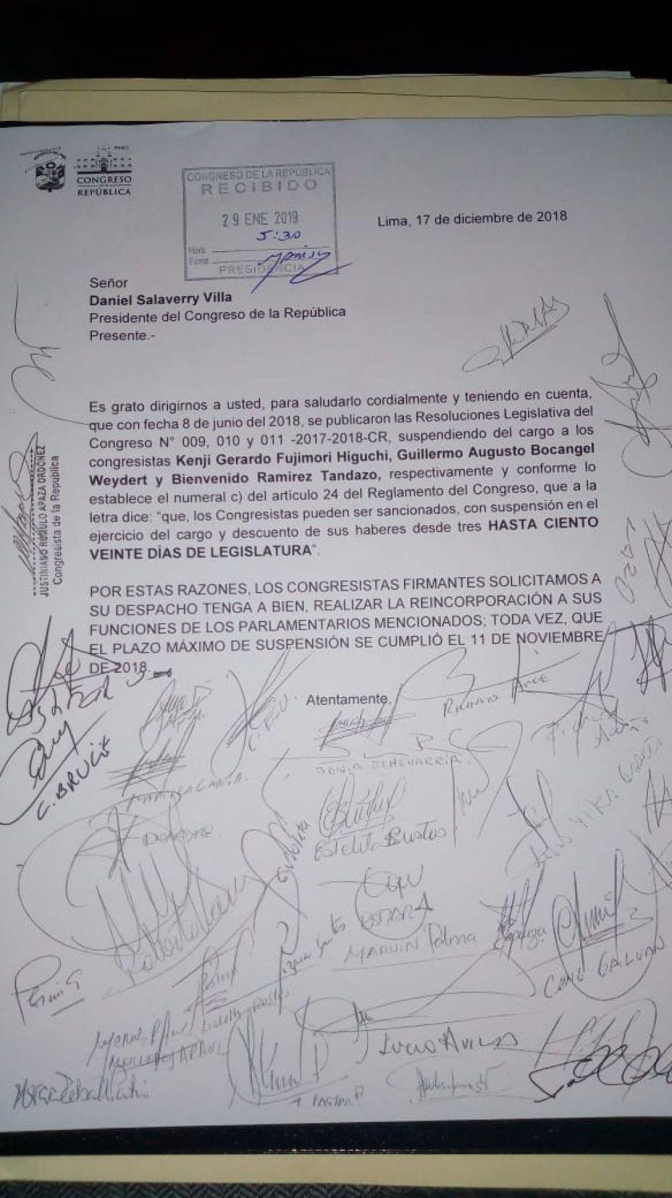 Solicitud firmada por 50 congresistas de diversas bancadas. (Foto: difusión)