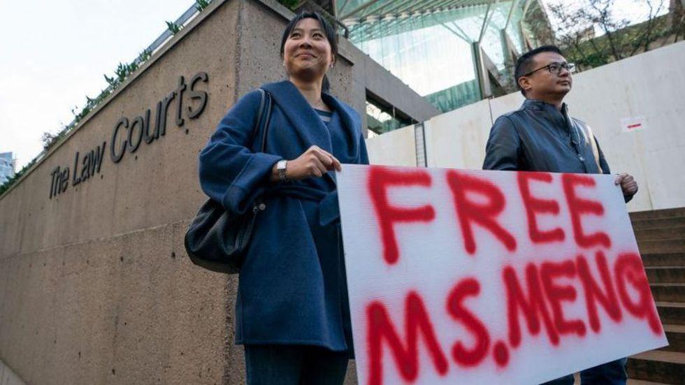 Algunos han protestado en Vancouver para pedir la liberación de Meng Wanzhou.