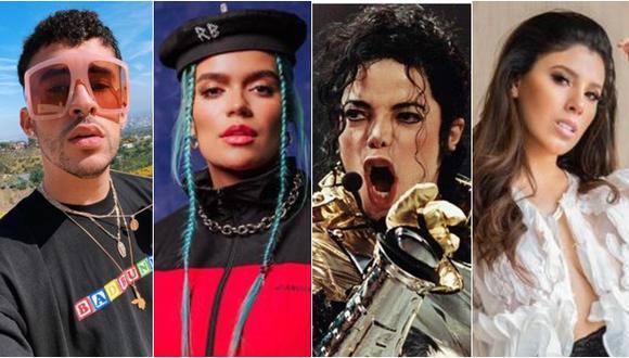 Temas de Bad Bunny, Karol G, Michael Jackson y de la peruana Yahaira Plasencia entre los más escuchados durante el estado de emergencia. (Fotos: Instagram / EFE)