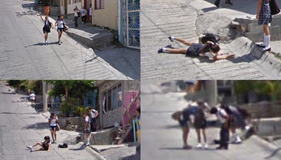 Una curiosa secuencia captada por las cámaras del auto del gigante del Internet, cuando recorría una calle de México, se volvió viral en redes sociales. | Crédito: Google Maps.