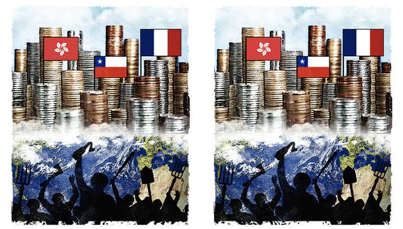 """""""Hong Kong, Francia y Chile no son los únicos que enfrentan una crisis de movilidad social y reclamos por la desigualdad"""". (Ilustración: Rolando Pinillos)"""