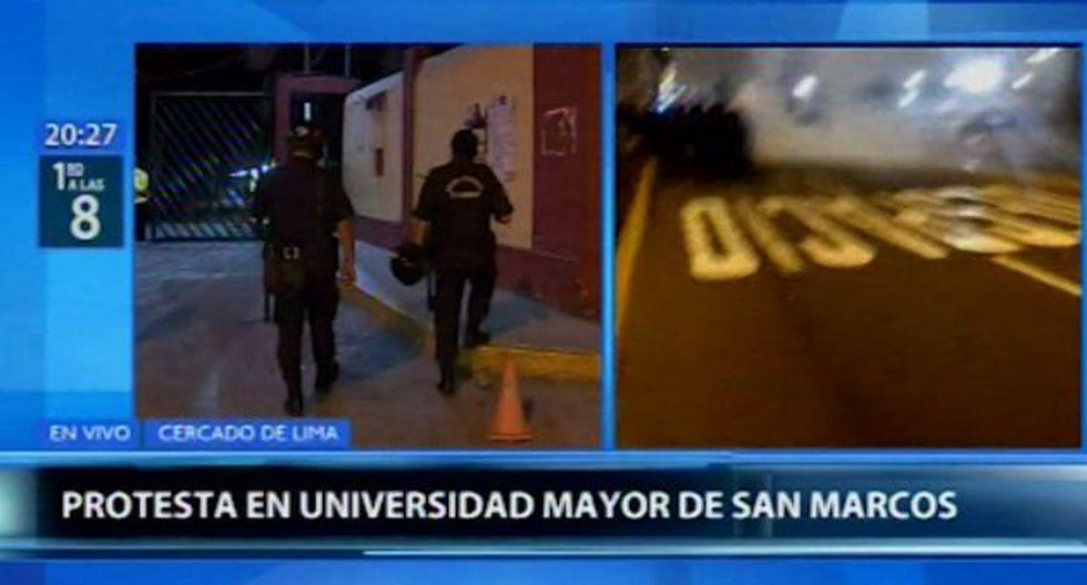 Un contingente policial llegó hasta la Universidad Nacional Mayor de San Marcos (UNMSM). (Canal N)