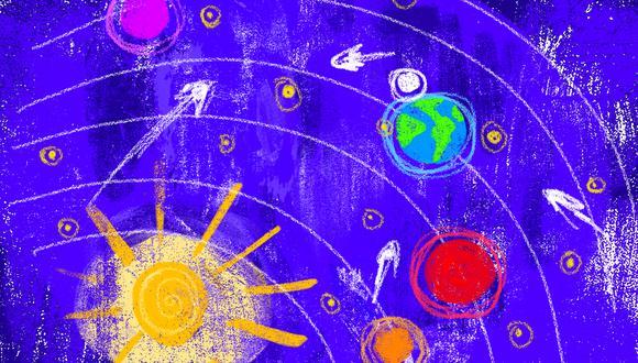 """""""Gracias  al mapa  celestial de  Gaia, ahora  sí podemos  ir a Marte"""". (Ilustración: Giovanni Tazza)"""