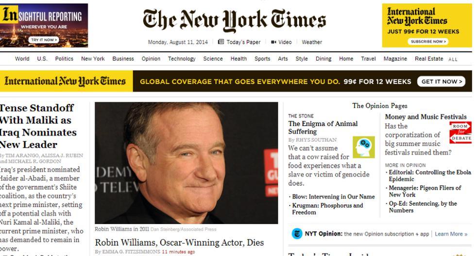 Murió Robin Williams: así informa la prensa internacional - 1