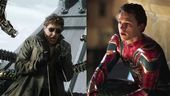 """De izquierda a derecha, Alfred Molina como Otto Octavius en """"Spiderman 2"""" (2004). A la derecha, Tom Holland como Peter Parker en """"Spiderman: Far From Home"""" (2019). Fotos: Sony Pictures."""
