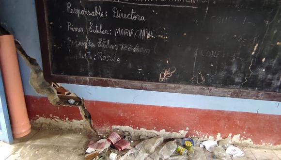 El techo del centro educativo también se vio afectado. (Foto: COER Áncash)