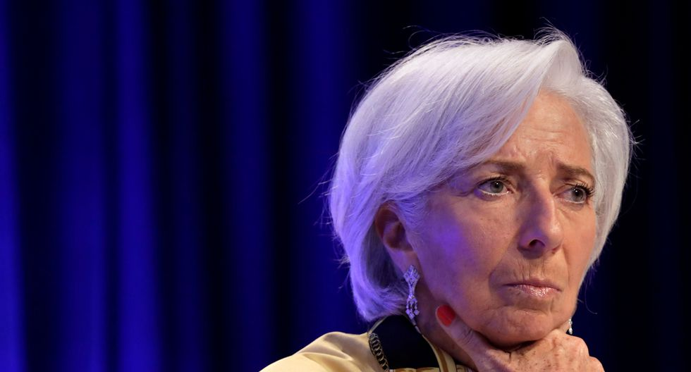 Christine Lagarde, directora gerente del FMI, en una conferencia de prensa el jueves 19 de abril.
