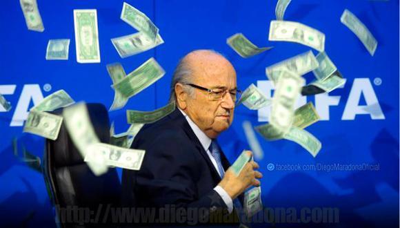 Diego Maradona compartió foto de Blatter con lluvia de dólares