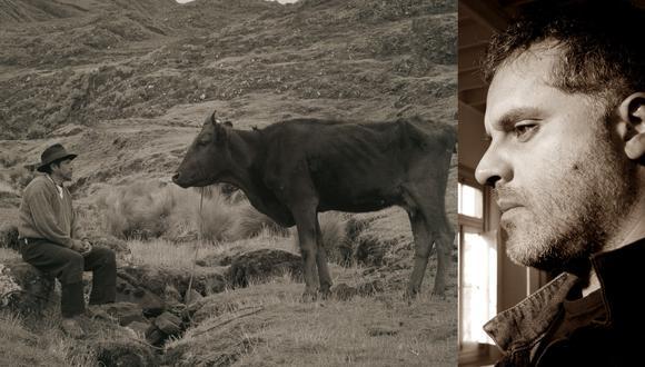 """""""Samichay"""" es protagonizada por Amiel Cayo (recordado actor de """"Retablo""""), como un hombre que entabla un fuerte vínculo con su vaca. A la derecha, el director Mauricio Franco. Fotos: CCPUCP."""