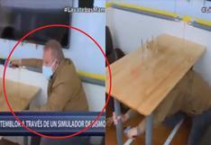 Gunter Rave y su reacción en un simulador de sismos | VIDEO