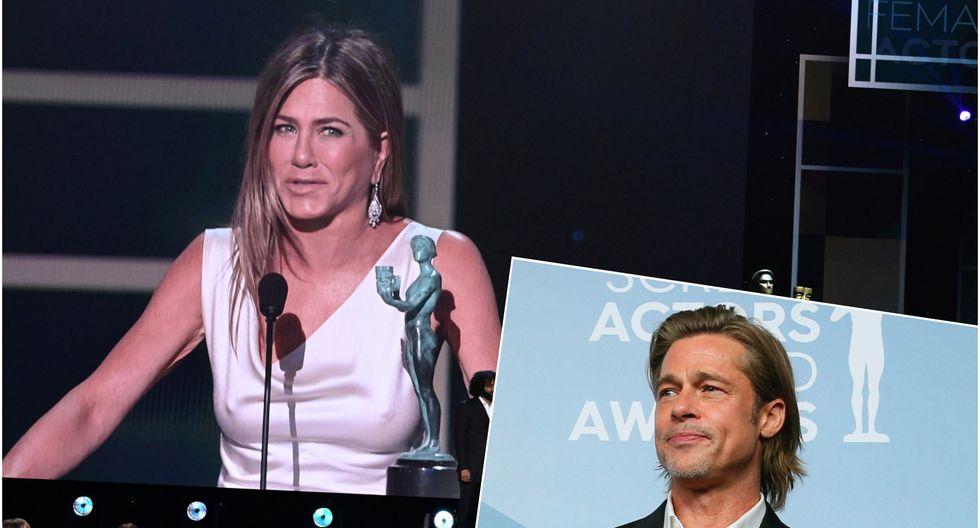 Brad Pitt y Jennifer Aniston se reencontraron en la gala de los SAG Awards 2020. (Foto: Twitter)