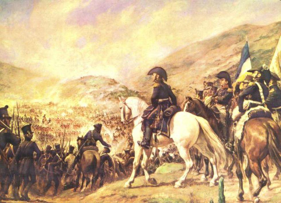 (Óleo: La Batalla de Chacabuco, por Pedro Subercaseaux)