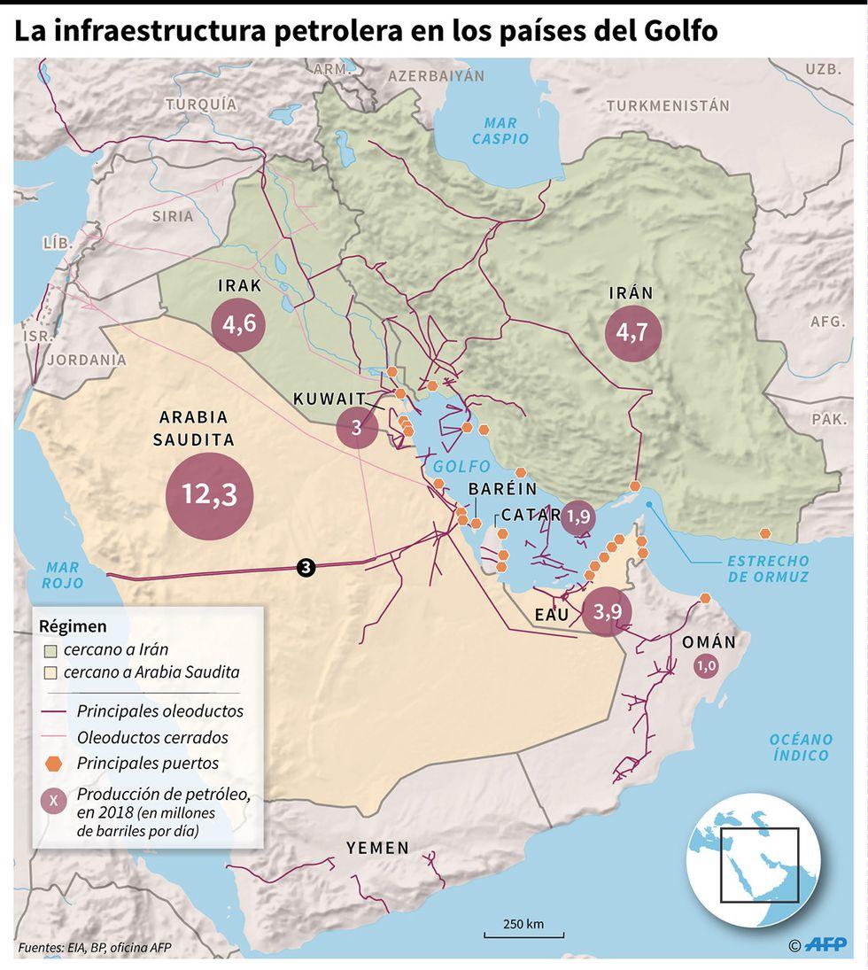 Mapa con la infraestructura petrolera en los países del Golfo. (Infografía: AFP)