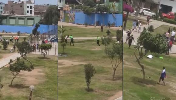 La Policía trató de explicar lo ocurrido en el parque Aeropuerto, en el Callao. (Capturas de video de Facebook)
