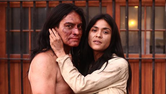 """Túpac Amaru (Christian Esquivel) y Micaela Bastidas (Francesca Vargas) en una escena de """"Los otros libertadores"""" de próxima emisión. Foto: Jesús Saucedo de El Comercio."""