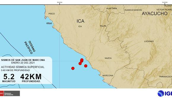 El último miércoles se registraron cinco sismos entre el lapso de las 5:30 p.m. a las 7:30 p.m., según lo indicó el Instituto Geofísico del Perú (IGP) mediante sus redes virtuales. Foto: IGP