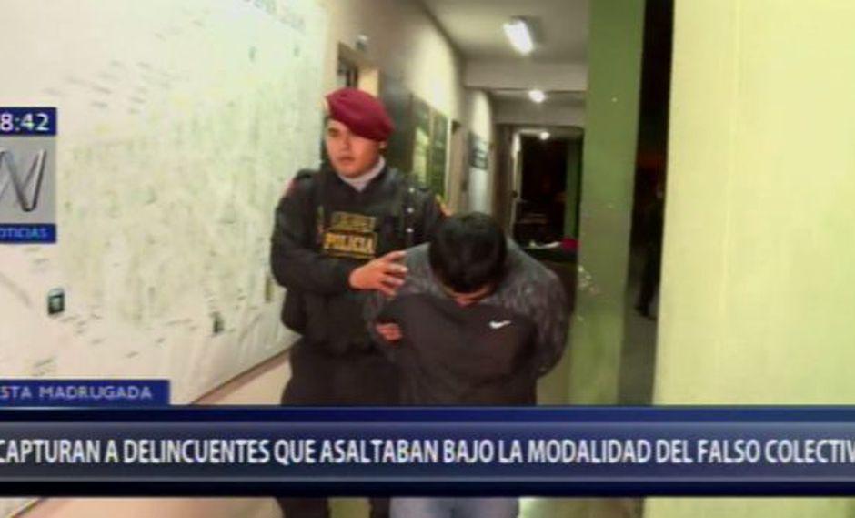 Falsos colectiveros fueron trasladados a la Depincri del sector para ser sometidos a las investigaciones correspondientes. (Foto: Captura de video / Canal N)
