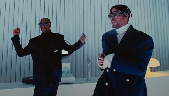 """Bad Bunny y Snoop Dogg, durante la grabación del videoclip de """"Hoy cobré"""". Foto: Rimas."""