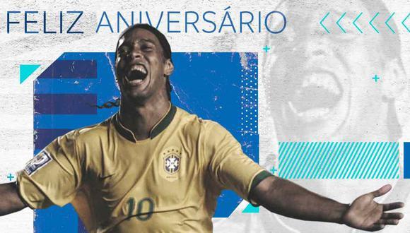 El saludo de Conmebol de Ronaldinho, por su cumpleaños número 40. (Foto: @CONMEBOL)