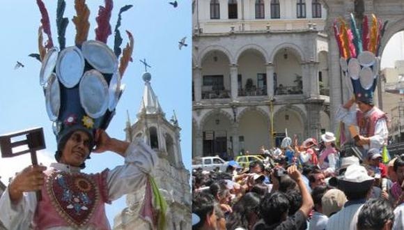 En marzo del año 2012, una escultura de Ciro Castillo fue paseada por la Plaza de Armas de Arequipa. (Foto: El Comercio)