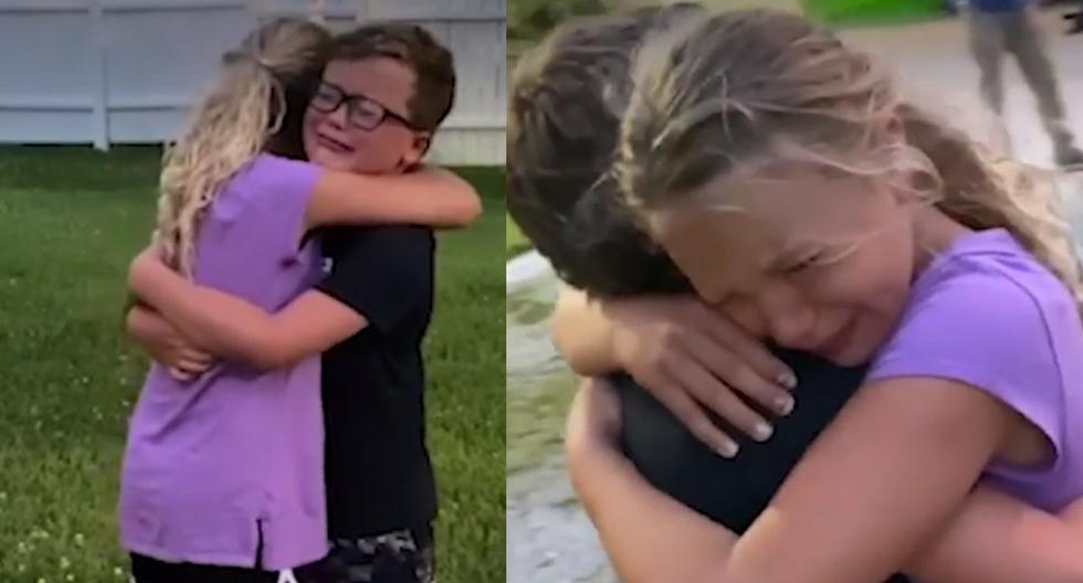 Hucky Collins y Rozzie Arnett, son los protagonistas del video más emotivo que dejó el levantamiento de la cuarentena en Kentucky, Estados Unidos.   Foto: abc7la
