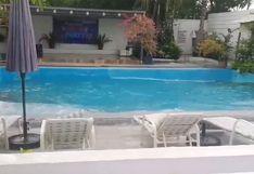 Las 'olas' que se formaron en una piscina durante el fuerte sismo que azotó Filipinas