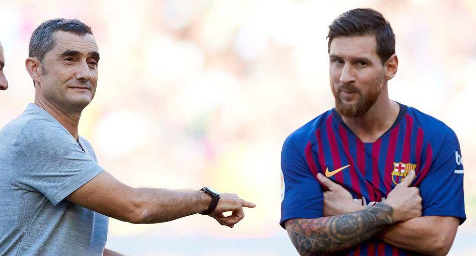 Ernesto Valverde y Lionel Messi coincidieron en Barcelona por dos años y medio. (Foto: EFE)