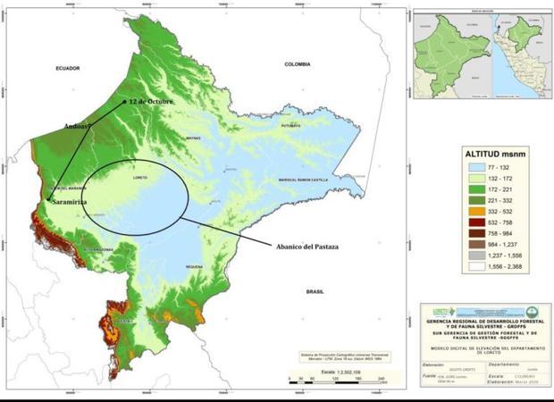Mapa de la zona donde se construiría la carretera Iquitos-Saramiriza. Imagen: DAR.
