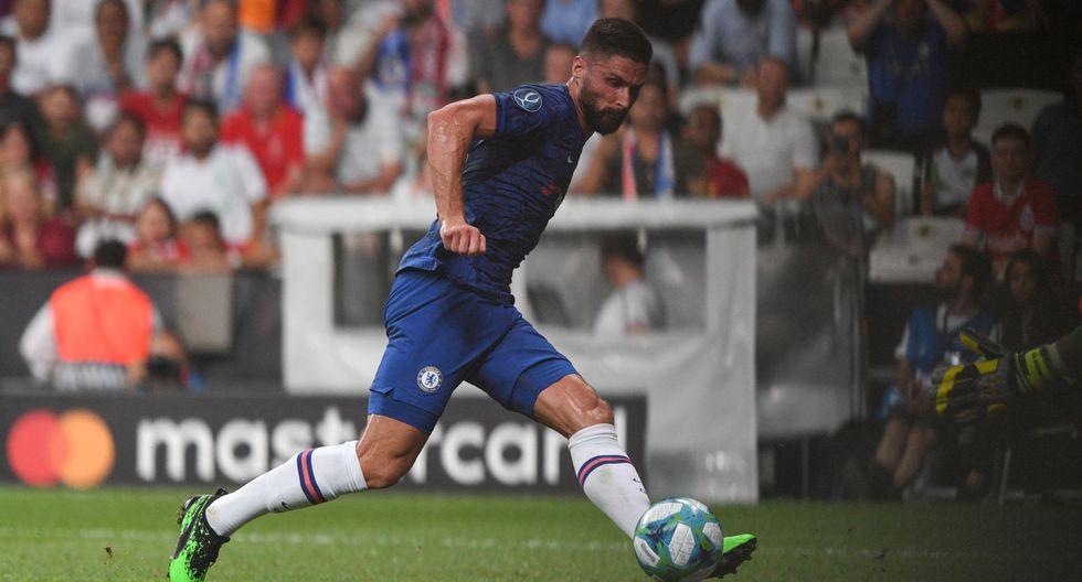 Chelsea vs. Liverpool. Olivier Giroud abrió el marcador en la Supercopa de Europa. (Foto: AFP)