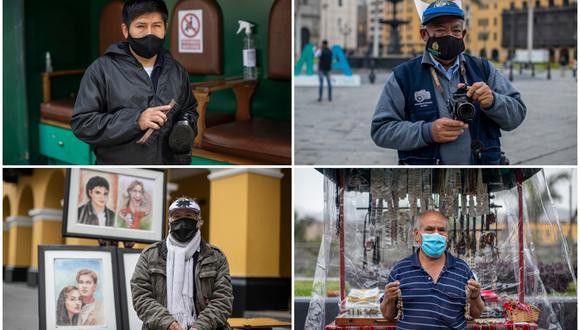 El cierre de fronteras y el trabajo remoto afectan los ingresos de lustrabotas, fotógrafos, artesanos y retratistas en la capital. (Foto: César Campos / El Comercio)