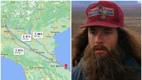 El italiano caminó 420 km para despejar la mente después de discutir con su esposa. (Foto: Google Maps)