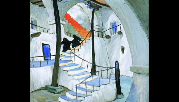 """""""Escalera Roja"""" (Cusco, 1954), una de las obras del pintor indigenista Enrique Camino Brent. (Fuente: Enrique Camino Brent / Pinacoteca Ignacio Merino)"""