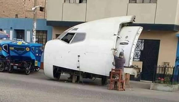 Esta es la imagen de un Boeing 737 en las calles de San Martín de Porres. (Facebook)