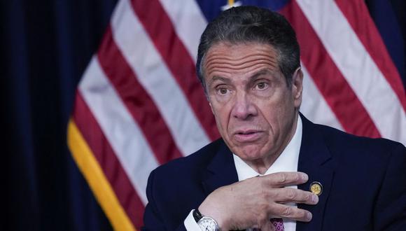 El gobernador de Nueva York, Andrew Cuomo, habla durante una conferencia de prensa, el 10 de mayo de 2021. (Foto de Mary Altaffer / POOL / AFP).