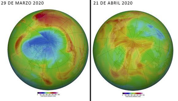 La imagen muestra el cambio en el enorme agujero en la capa de ozono en el hemisferio norte. (Imagen: NASA)
