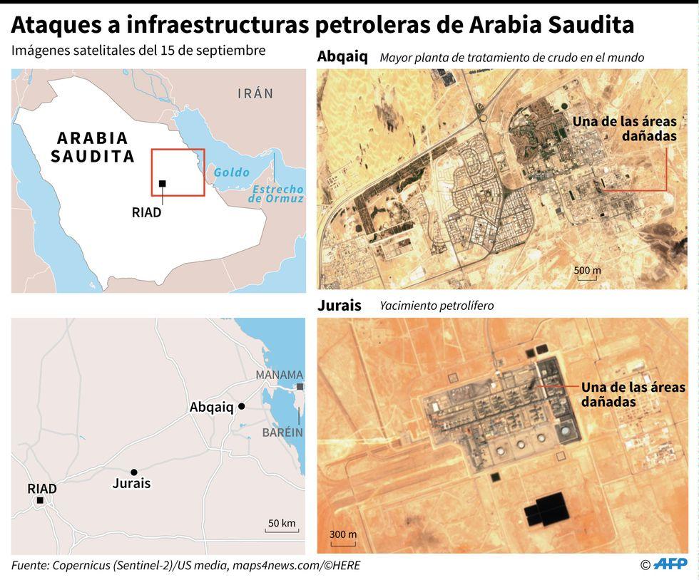 Imágenes satelitales del 15 de septiembre que muestran las áreas de instalaciones petroleras de Arabia Saudita dañadas por ataques de dron. (AFP)